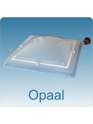 Lichtkoepel dubbelwandig acrylaat (PMMA/PMMA) 80X80 bolvormig opaal,maatvoering lichtkoepel rechtkoefig en vierkant
